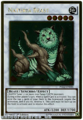 Picture of PGL2-EN086 Naturia Beast Gold Rare 1st Edition Mint YuGiOh Card