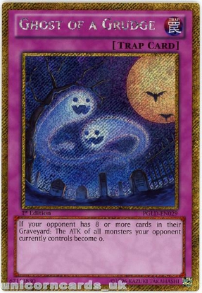 Picture of PGLD-EN029 Ghost of a Grudge Gold Secret Rare 1st Edition Mint YuGiOh Card