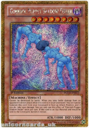 Picture of PGLD-EN012 Gimmick Puppet Shadow Feeler Gold Secret Rare 1st Edition YuGiOh Card