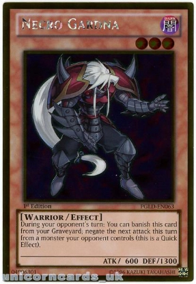 Picture of PGLD-EN063 Necro Gardna Gold Rare 1st Edition Mint YuGiOh Card