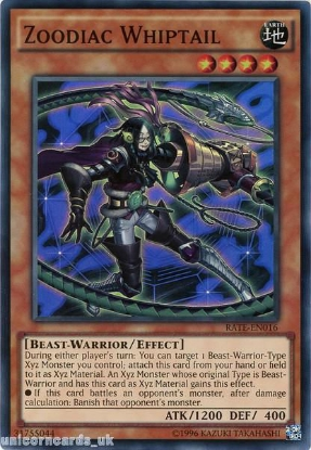 Picture of RATE-EN016 Zoodiac Whiptail Super Rare UNL Edition Mint YuGiOh Card