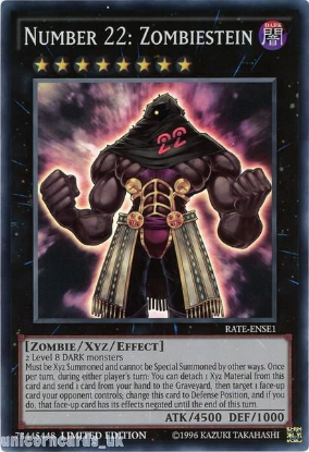 Picture of RATE-ENSE1 Number 22: Zombiestein Super Rare Limited Edition Mint YuGiOh Card