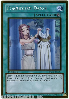 Picture of PGLD-EN049 Forbidden Dress Gold Rare 1st Edition Mint YuGiOh Card