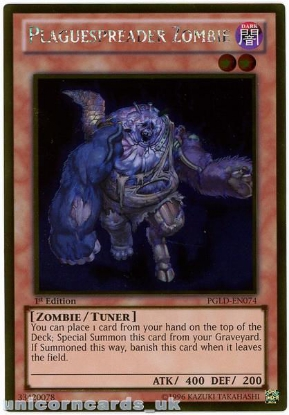 Picture of PGLD-EN074 Plaguespreader Zombie Gold Rare 1st Edition Mint YuGiOh Card