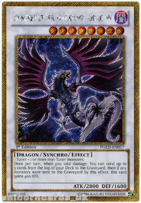 Picture of PGLD-EN017 Blackfeather Darkrage Dragon Gold Secret Rare 1st Edition YuGiOh Card