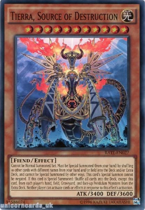 Picture of RATE-EN027 Tierra, Source of Destruction Super Rare UNL Edition Mint YuGiOh Card