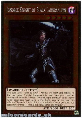 Picture of NKRT-EN005 Ignoble Knight of Black Laundsallyn Platinum Rare Mint YuGiOh Card
