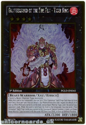 Picture of PGLD-EN045 Brotherhood of the Fire Fist - Tiger King Gold Rare 1st Ed Card
