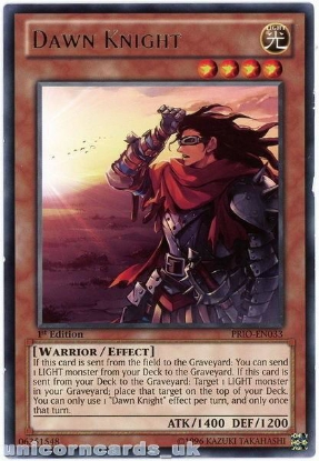 Picture of PRIO-EN033 Dawn Knight Rare 1st Edition Mint YuGiOh Card