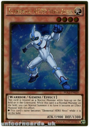 Picture of PGL2-EN029 Elemental HERO Neos Alius Gold Rare 1st Edition Mint YuGiOh Card