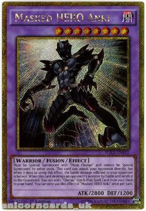 Picture of PGL2-EN011 Masked HERO Anki Gold Secret Rare 1st Edition Mint YuGiOh Card