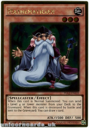 Picture of PGL2-EN039 Mathematician Gold Rare 1st Edition Mint YuGiOh Card