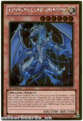 Picture of PGLD-EN039 Lightpulsar Dragon Gold Rare 1st Edition Mint YuGiOh Card