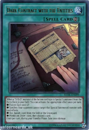 Picture of RATE-EN099 Dark Contract with the Entities Ultra Rare UNL Edition Mint YuGiOh Card