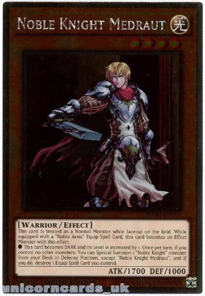 Picture of NKRT-EN006 Noble Knight Medraut Platinum Rare Limted Edition Mint YuGiOh Card