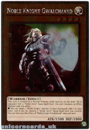 Picture of NKRT-EN007 Noble Knight Gwalchavad Platinum Rare Limted Edition Mint YuGiOh Card