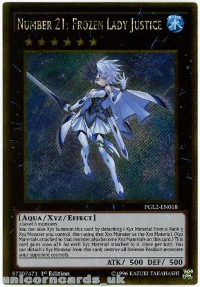 Picture of PGL2-EN018 Number 21: Frozen Lady Justice Gold Secret Rare 1st Ed YuGiOh Card