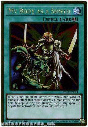 Picture of PGL2-EN074 My Body as a Shield Gold Rare 1st Edition Mint YuGiOh Card