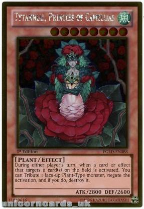 Picture of PGLD-EN088 Tytannial, Princess of Camellias Gold Rare 1st Edition YuGiOh Card