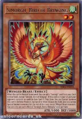 Picture of RIRA-EN018 Simorgh, Bird of Bringing Rare 1st Edition Mint YuGiOh Card