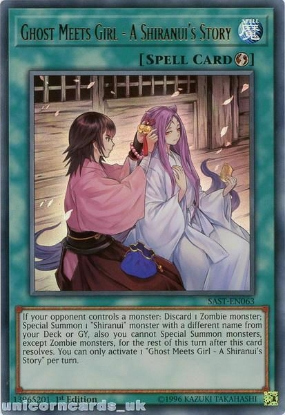 Picture of SAST-EN063 Ghost Meets Girl - A Shiranui's Story Ultra Rare 1st Edition Mint YuGiOh Card