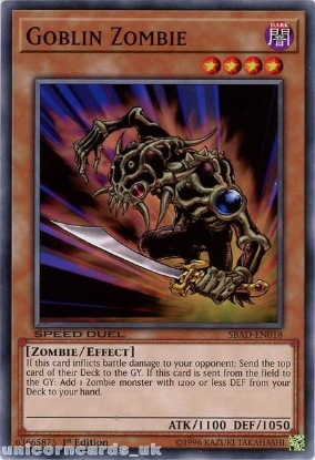 Picture of SBAD-EN018 Goblin Zombie Common 1st Edition Mint YuGiOh Card