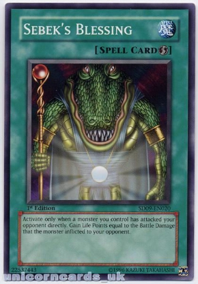 Picture of SD09-EN020 Sebek's Blessing 1st Edition Mint YuGiOh Card