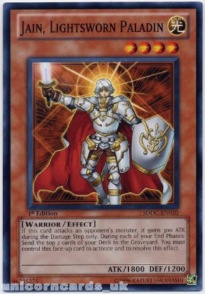 Picture of SDDC-EN020 Jain, Lightsworn Paladin 1st Edition Mint YuGiOh Card