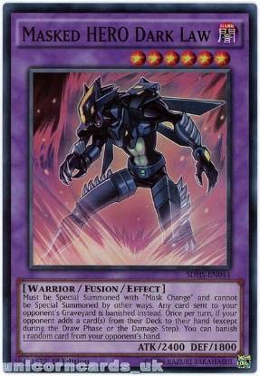 Picture of SDHS-EN044 Masked HERO Dark Law Super Rare 1st Edition Mint YuGiOh Card