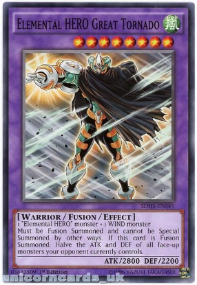 Picture of SDHS-EN045 Elemental HERO Great Tornado 1st Edition Mint YuGiOh Card
