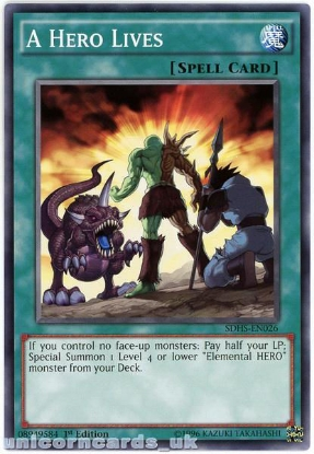 Picture of SDHS-EN026 A Hero Lives 1st Edition Mint YuGiOh Card