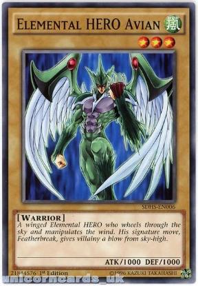 Picture of SDHS-EN006 Elemental HERO Avian 1st Edition Mint YuGiOh Card