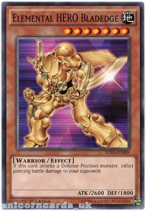 Picture of SDHS-EN009 Elemental HERO Bladedge 1st Edition Mint YuGiOh Card
