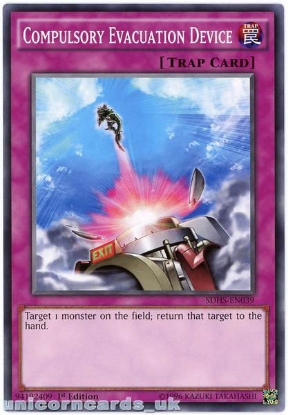 Picture of SDHS-EN039 Compulsory Evacuation Device 1st Edition Mint YuGiOh Card