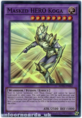 Picture of SDHS-EN042 Masked HERO Koga Super Rare 1st Edition Mint YuGiOh Card