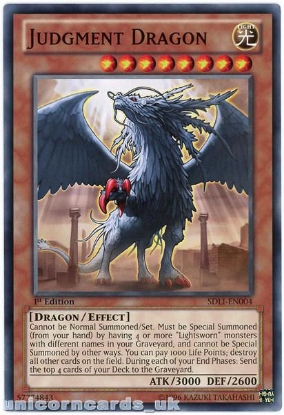 Picture of SDLI-EN004 Judgment Dragon 1st Edition Mint YuGiOh Card