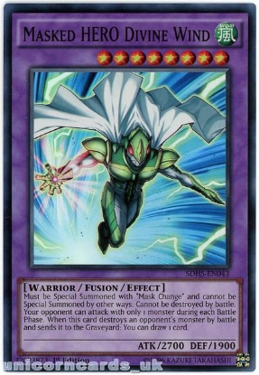 Picture of SDHS-EN043 Masked HERO Divine Wind Super Rare 1st Edition Mint YuGiOh Card