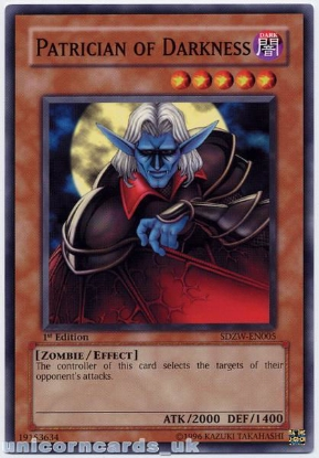Picture of SDZW-EN005 Patrician of Darkness 1st Edition Mint YuGiOh Card