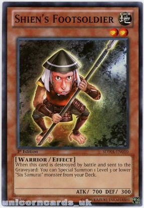 Picture of SDWA-EN010 Shien's Footsoldier 1st Edition Mint YuGiOh Card