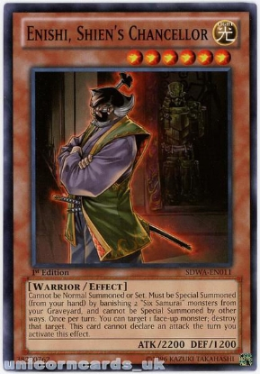 Picture of SDWA-EN011 Enishi, Shien's Chancellor 1st Edition Mint YuGiOh Card