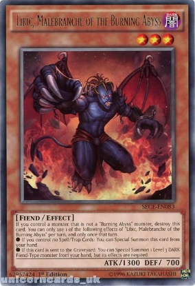 Picture of SECE-EN083 Libic, Malebranche of the Burning Abyss Rare 1st Edition Mint YuGiOh Card