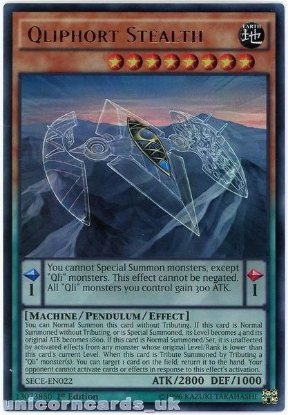 Picture of SECE-EN022 Qliphort Stealth Ultra Rare 1st Edition Mint YuGiOh Card