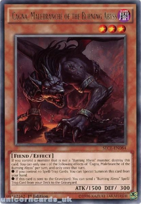 Picture of SECE-EN084 Cagna, Malebranche of the Burning Abyss Rare 1st Edition Mint YuGiOh Card