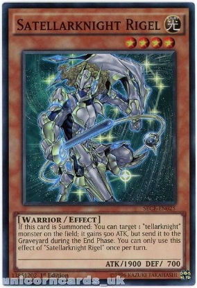 Picture of SECE-EN025 Satellarknight Rigel Super Rare 1st Edition Mint YuGiOh Card