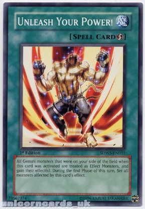 Picture of SDWS-EN031 Unleash Your Power! 1st Edition Mint YuGiOh Card