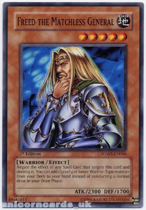 Picture of SDWS-EN006 Freed the Matchless General 1st edition Mint YuGiOh Card
