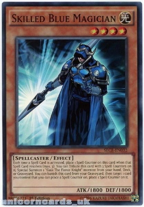 Picture of SECE-EN032 Skilled Blue Magician Super Rare 1st Edition Mint YuGiOh Card