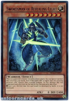 Picture of SECE-EN095 Swordsman of Revealing Light Ultra Rare 1st Edition Mint YuGiOh Card