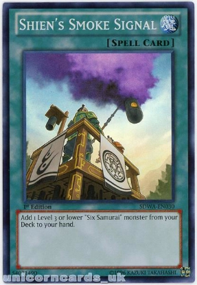 Picture of SDWA-EN030 Shien's Smoke Signal Super Rare 1st Edition Mint YuGiOh Card