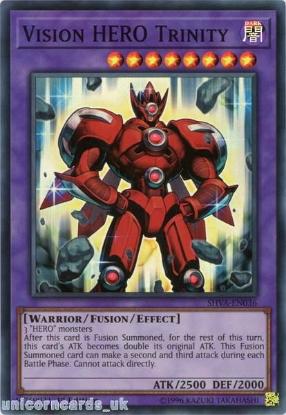 Picture of SHVA-EN036 Vision HERO Trinity Super Rare 1st Edition Mint YuGiOh Card